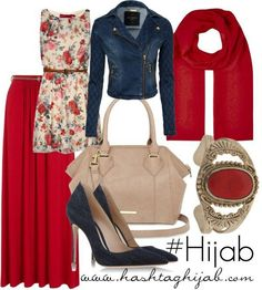 mid thigh floral dress with a red maxi skirt underneath with dark blue heels a nude colored purse a jean jacket and a red hijab with matching accessories Hijab Fashion 2016, Skirt Fashion, Trendy Fashion, Fashion Outfits, Womens Fashion, Trendy Style, Hijab Dress, Hijab Outfit, Dress Outfits
