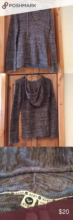 Hooded Roxy Sweater Great condition.  Front pouch pocket. Drawstring hood with wood bead details. Roxy Sweaters