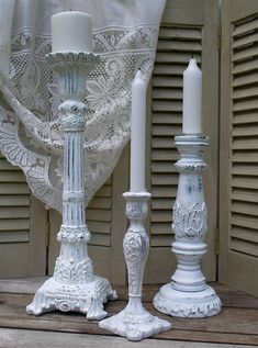 3 White French Country Candle Holders  Shabby Chic Wedding Decor on Etsy, $59.00