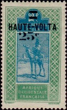 1924: Dromedary (Camelus dromedarius) with Rider (וולטה עילית) (Definitives of Upper Senegal and Niger - overprinted) Mi:BF 23,Sn:BF 33,Yt:BF 33