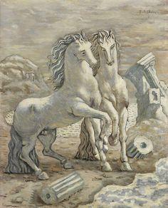 Giorgio de Chirico. Cavalli in riva al mare, 1927