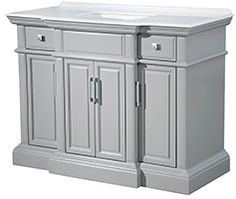 Yorktown Vanity, Designer Bathroom and Home Decor - Tres Chic Home Bathroom Vanity, Master Bathroom Design, Grey And White Wallpaper, Vanity, Plastic Curtains, Grey Bathrooms, Sophisticated Bathroom, 48 Vanity, Bathroom