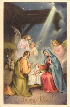 HOLY Family nativity fantasy angels Joyeux Noel greetings - $6.00. A1039 332466885486