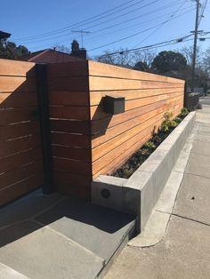 Patio Fence, Front Yard Fence, Backyard Fences, Cedar Wood Fence, Redwood Fence, Wood Fence Design, Wall Trellis, Front Courtyard, Wood Pergola