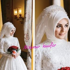 This Pin was discovered by fad Hijabi Wedding, Wedding Hijab Styles, Muslim Wedding Dresses, Muslim Brides, Bridal Wedding Dresses, Bridal Hijab, Bride Gowns, Groom Dress, Bridal Looks