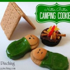 Camping Cookies : ) Nutter Butter cookies Mini Nilla Wafers Fruit Roll Up Black Edible Marker Frosting For Campfire Oreo cookies Orange, Red & Yellow Gumdrops Pretzel Sticks Frosting Optional: Graham Crackers for tent (cupcakes for boys oreo) Best Camping Meals, Camping Snacks, Camping Parties, Camping Theme, Camping Recipes, Camping Activities, Camping Crafts, Camping Ideas, Backpacking Recipes