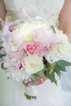 Peonies and Roses Blush Bouquet | Dynamic Flowers https://www.theknot.com/marketplace/dynamic-flowers-royal-oak-mi-525040 | Weddings by Adrienne & Amber