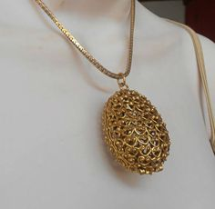 Filigree Egg Pendant Necklace Vinaigrette by LynnHislopJewels