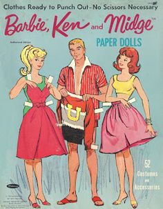 ...barbie, ken, and midge paper dolls from the sixties