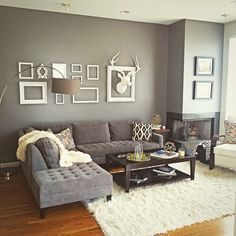 My dallas,Texas modern contemporary living room. Grey and white theme. Deer head,couch, and furry blanket from zgallerie. Coffee table from Crate and Barrel. Floor lamp from West Elm. Flokati rug from Home Decorators. Gold Decor from Hobby Lobby.