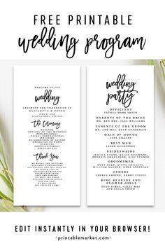Free Editable Wedding Program Template Elegant Black And White Instant Download Printable Diy Wedding Programs Wedding Program Template Free Wedding Program Download