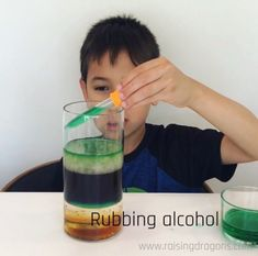 This liquid density experiment is a classic, kitchen science experiment that is easy to pull together from objects you have around the house and will amaze! Science Experiments Kids, Science Activities, Science Projects, Density Experiment, Kitchen Science, Toddler Learning Activities, Rubbing Alcohol, Worksheets For Kids, Crafts For Kids