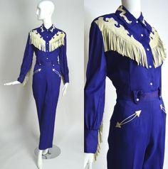 RANCH-MAID 1950's Vintage Royal Blue Gabardine Leather Fringe Western wear