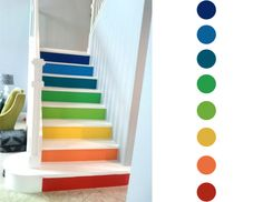 Rainbow Stairs Interior Stairs, Home Interior Design, Attic Staircase, Staircases, Daycare Spaces, Loft Room, Painted Stairs, Attic Rooms, Room Organization