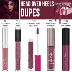 Kylie Cosmetcis 2016 Valentine Collection Head Over Heels Liquid Lipstick dupes: Colourpop Viper cruelty free Kylie Dupes, Kylie Lip Kit Dupe, Dupes Nyx, Blush Dupes, Lipstick Dupes, Nyx Cosmetics, Lipsticks, Liquid Lipstick, Kylie Lipstick