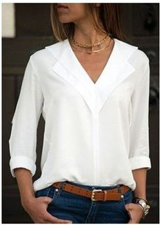 Flash Deals White Blouse Long Sleeve Chiffon Blouse Double V-neck Women Tops and Blouses Solid Office Shirt Lady Blouse Shirt Blusas Camisa The Office Shirts, Work Shirts, Mode Outfits, Fashion Outfits, Style Fashion, Jeans Fashion, Fashion Blouses, Curvy Fashion, Fall Fashion