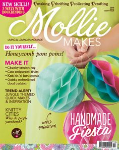 Mollie Makes issue 44 out now! Make easy honeycomb tissue pom poms, DIY travel journals, strawberry cocktails, a boho knitted clutch, crochet rug and more. Plus, get TWO free gifts this issue!