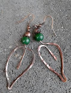 Wire leaf  earrings with green Jade ,Copper wire earrings,Fairy copper wire earrings,Leaf earrings,Fairy jewelry  MADE TO ORDER