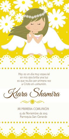 Estampa primera comunion niña                                                                                                                                                                                 Más First Communion Dresses, First Holy Communion, Holy Communion Invitations, Wedding Invitations, Card Organizer, Ideas Para Fiestas, Fiesta Party, Christening, Birthday Cards