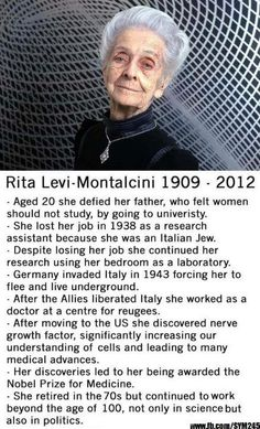Rita Levi Montalcini, a great long life, a great woman… Literally My Idol! Great Women, Amazing Women, Inspirer Les Gens, Good Woman, The Meta Picture, Humanity Restored, Badass Women, Interesting History, Faith In Humanity
