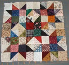 Scrap Crystal block from Bonnie Hunter.in the new 100 block magazine.Scrap star within stars - Bonnie Hunter - Great way to use up scraps.Would love to make a scrappy doll quilt like this.Good idea for the bonus-triangles from leader-ender-projects! Star Quilt Blocks, Star Quilts, Scrappy Quilts, Quilt Block Patterns, Mini Quilts, Baby Quilts, Half Square Triangle Quilts, Square Quilt, Hexagon Quilt