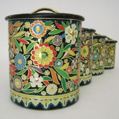 Holland Floral Metal Kitchen Canister Set by theButterDish on Etsy, $59.00