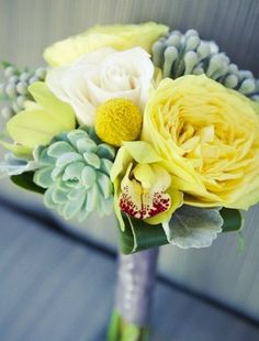 succulent and yellow wedding flower bouquet, bridal bouquet, wedding flowers, add pic source on comment and we will update it. www.myfloweraffair.com can create this beautiful wedding flower look.