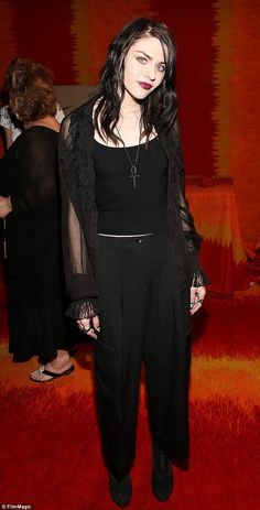Head-to-toe black: Frances Bean Cobain showcased her typically goth, nineties retro style ...