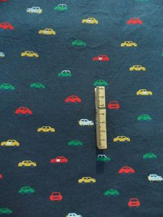 Car Print Knit Fabric in Navy