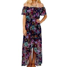Southern Girl Fashion Dresses - FLORAL MAXI Printed Off the Shoulder Dress Draped