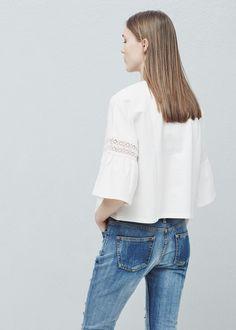 Kurzärmeliges baumwoll-sweatshirt - Cardigans und pullover für Damen | MANGO