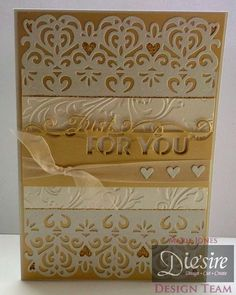 Marie Jones - Die'sire Edge'ables Rococo - Die'sire Edge'ables Just For You - Embossalicous 8x8 Regency Swirls folder - Centura Pearl Ivory - Gold card - Collall All Purpose glue - Glue pen - Ribbon -  #crafterscompanion