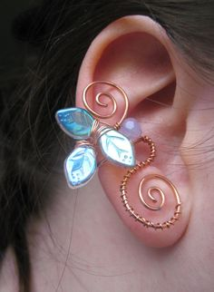 Copper Wire Ear Cuff with Leaves Faerie Jewelry by NeckLineDesignz, $12.00