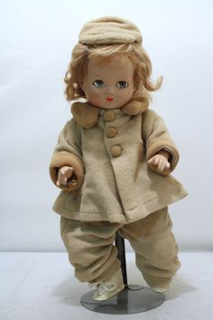 1940's F and B Composition Baby Doll with Winter Outfit