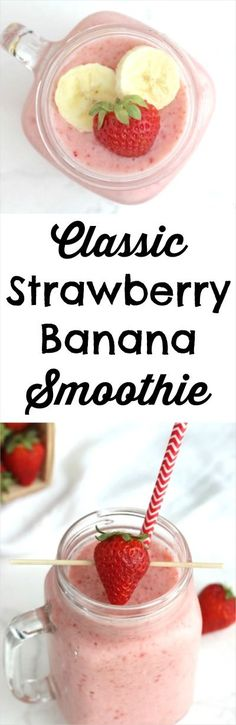 This easy Classic Strawberry Banana Smoothie recipe is so cool and refreshing - a true family favorite! With ingredients you've probably got on hand, it's ready in moments! ~ from Two Healthy Kitchens at www.TwoHealthyKitchens.com