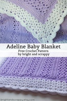 Adeline Baby Blanket A lacy, girly baby blanket perfect for beginners! Uses only basic stitches, but comes out looking far more intricate. This is a Bright and Scrappy original design. Kitten Baby, Crochet Baby Blanket Free Pattern, Crochet Baby Afghans, Crocheted Baby Blankets, Free Baby Crochet Patterns, Original Design, Crochet Gratis, Kids Blankets, Butterfly Kisses