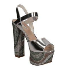 GUESS (Den4) Sandalo Donna Pelle Glitter Argento FLDE41LEL03