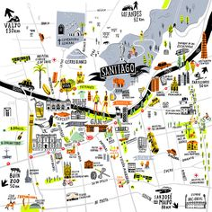 Love Santiago in Chile? This stylish illustrated map celebrates the capital, and features loads of the city's great landmarks. Available in a choice of sizes, the print would be perfect for any Chile residents, or visitors to the city. Framed Maps, Framed Art Prints, Places To Travel, Places To Go, Easter Island, South America Travel, Map Design, Adventure Is Out There, Map Art