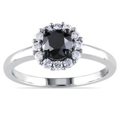 Miadora 10k White Gold 1ct TDW Black and White Halo Diamond Ring (H-I, I2-I3) | Overstock.com Shopping - The Best Deals on Diamond Rings