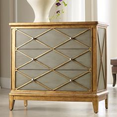 Beautiful green and gold combination! Mélange Paxton Gold Trim Chest by Hooker Furniture
