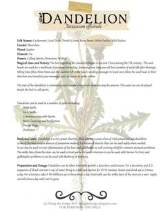 Free BOS page on Dandelion. Magical and medical uses included.