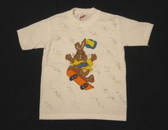 Bunny on Skateboard Tee Shirt White Short by AnjusCreations