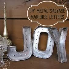 Just A Little Creativity: Christmas JOY- {DIY} Metal Salvage Marquee Letters- from stock cardboard letters Mini Christmas Tree, All Things Christmas, Christmas Themes, Vintage Christmas, Christmas Crafts, Christmas Decorations, Silver Christmas, Xmas, Merry Christmas