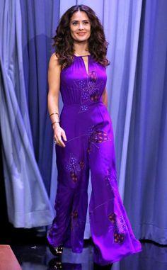 Salma Hayek is vibrant in this purple jumpsuit.