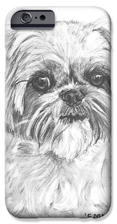 Shih Tzu Portrait In Charcoal IPhone 6s Case by Kate Sumners