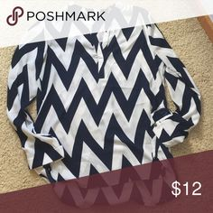 Long sleeve chevron top Great top for work. Easy to make casual also. Worn only a few times. Charlotte Russe Tops Blouses