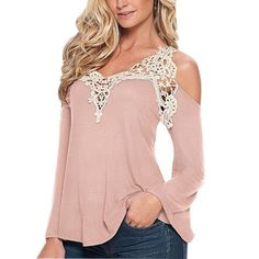 Lace Long Sleeve Casual Off Shoulder V-Neck Strapless Shirt