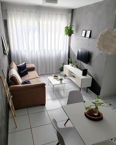 Cute Living Room, Small Living Rooms, Home And Living, Living Room Decor, Small Apartment Interior, Flat Interior, Studio Apartment Decorating, Home Room Design, Living Room Designs