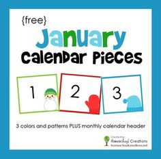 January Pocket Chart Calendar Pieces (free; from Homeschool Creations)