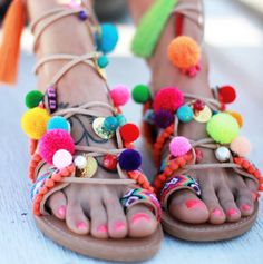 """I can't think something more colorful for this summer! Our """"chili mango"""" sandals are like all the exotic fruits together!  #dimitrasworkshop #handmade #sandals #madeingreece #summer #fruit #colors #pompomsandals"""